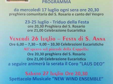 Il programma della Festa di Sant'Anna a Pietrapiana.